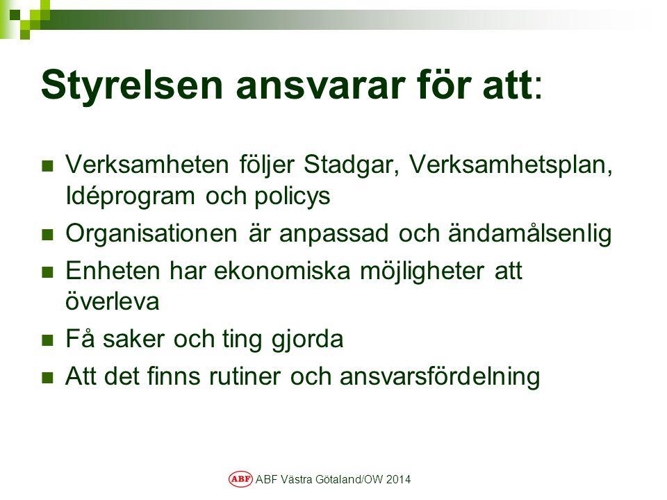 ABF Västra Götaland/OW 2014 Styrelsen ansvarar för att: Verksamheten följer Stadgar, Verksamhetsplan, Idéprogram och policys Organisationen är anpassa