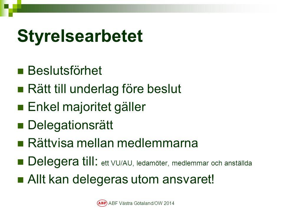 ABF Västra Götaland/OW 2014 Styrelsearbetet Beslutsförhet Rätt till underlag före beslut Enkel majoritet gäller Delegationsrätt Rättvisa mellan medlemmarna Delegera till: ett VU/AU, ledamöter, medlemmar och anställda Allt kan delegeras utom ansvaret!
