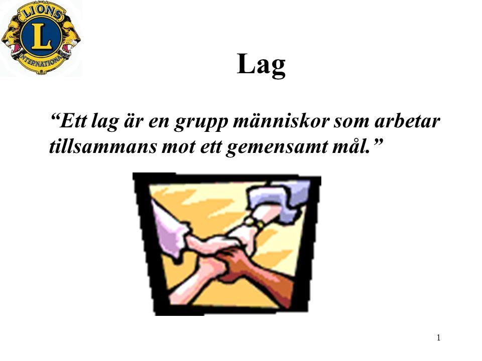 1 Lag Ett lag är en grupp människor som arbetar tillsammans mot ett gemensamt mål.