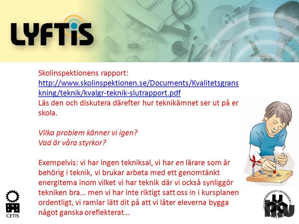 Skolinspektionens rapport: http://www.skolinspektionen.se/Documents/Kvalitetsgrans kning/teknik/kvalgr-teknik-slutrapport.pdf http://www.skolinspektio