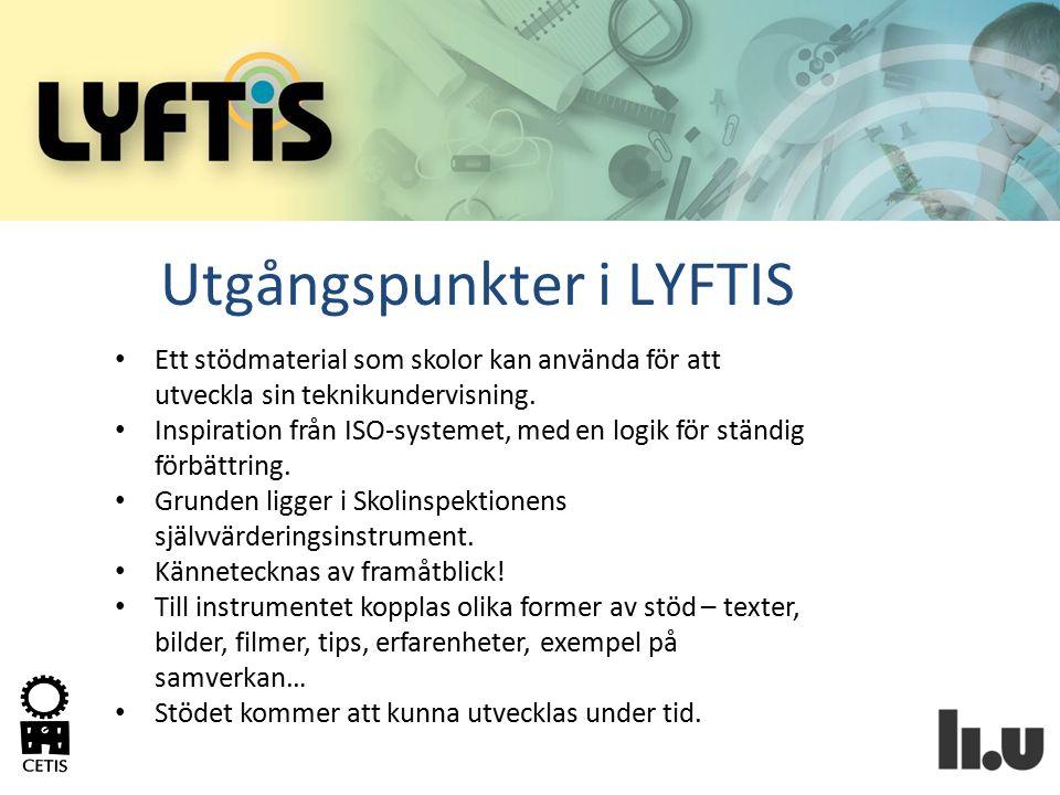 Syftet med LYFTIS En struktur för att systematiskt utveckla teknikämnet på den enskilda skolan.