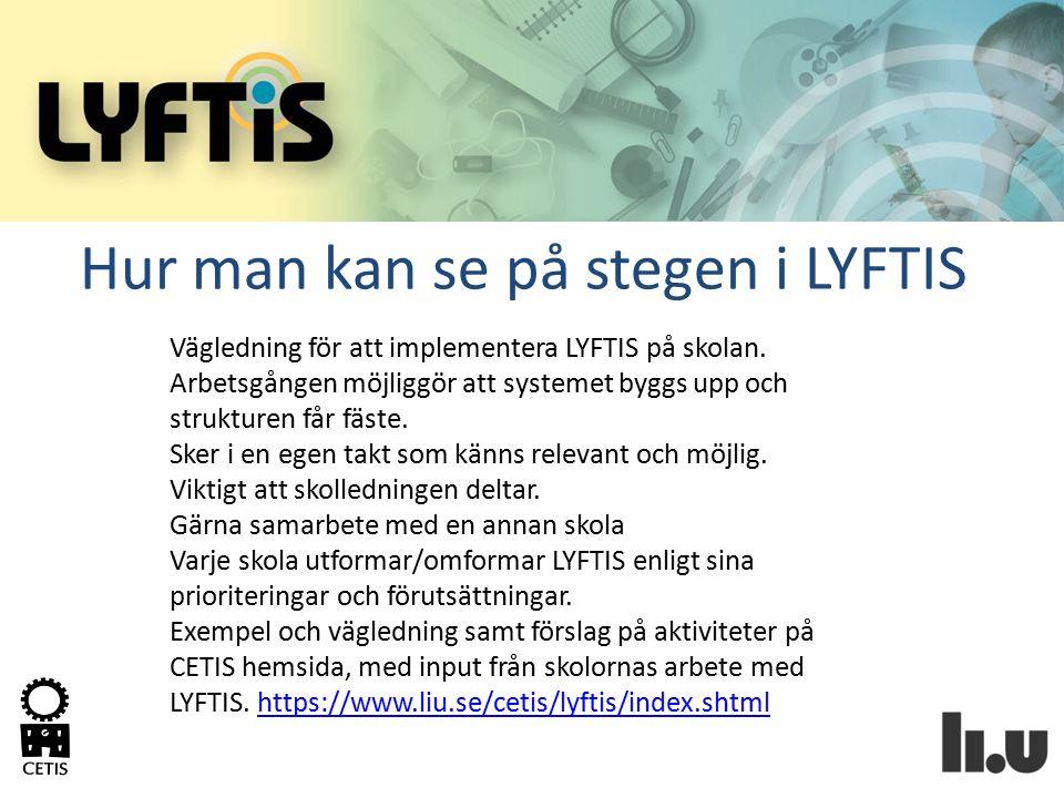 Hur man kan se på stegen i LYFTIS Vägledning för att implementera LYFTIS på skolan. Arbetsgången möjliggör att systemet byggs upp och strukturen får f