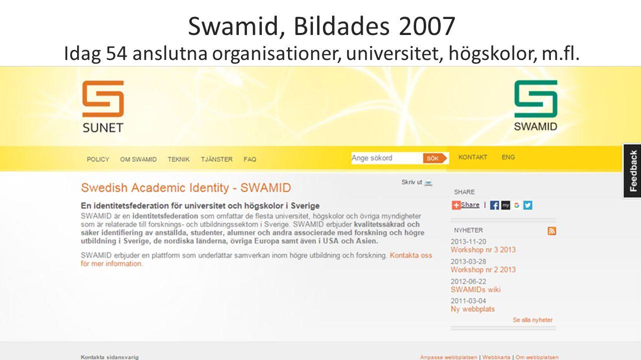 Swamid, Bildades 2007 Idag 54 anslutna organisationer, universitet, högskolor, m.fl.