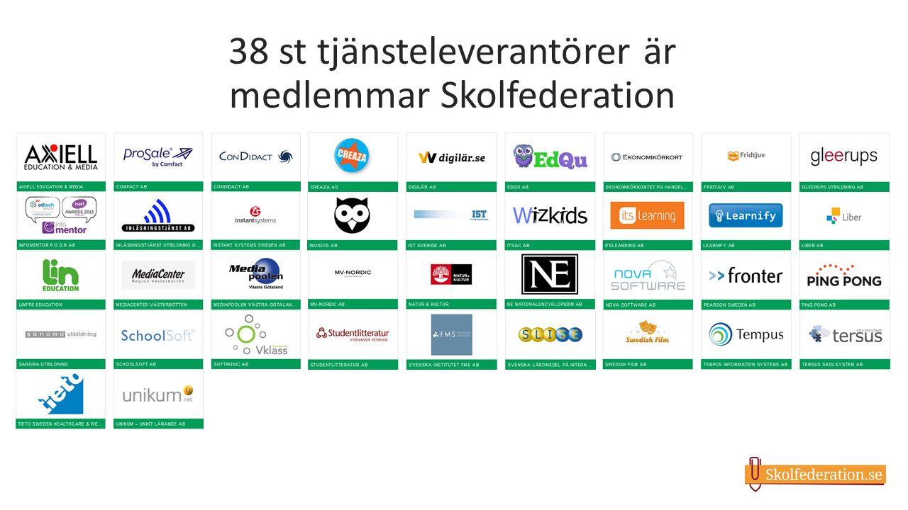 38 st tjänsteleverantörer är medlemmar Skolfederation