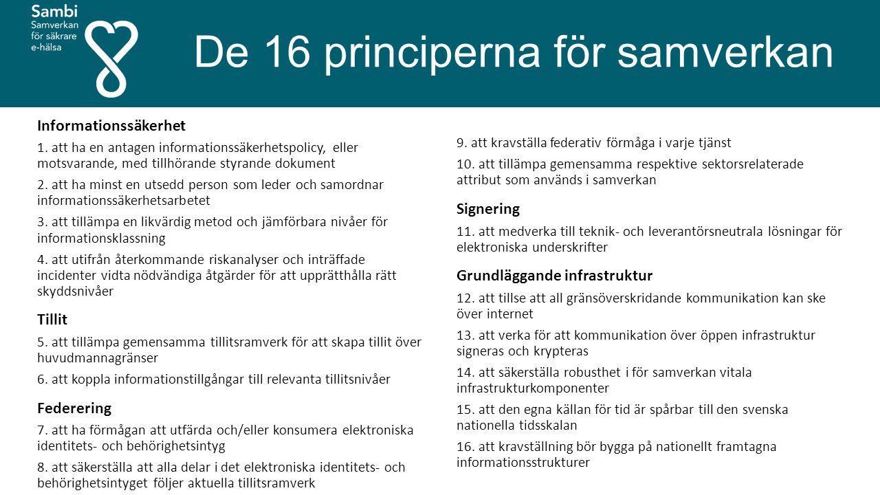 De 16 principerna för samverkan Informationssäkerhet 1.
