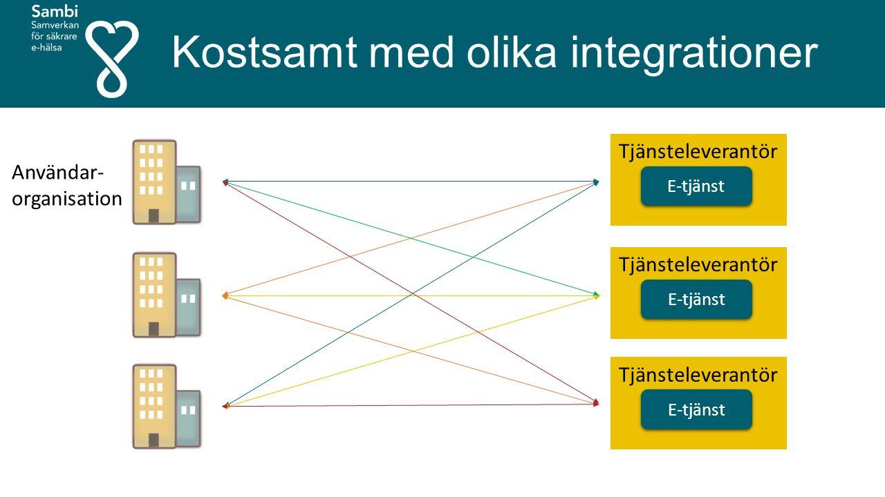 Kostsamt med olika integrationer E-tjänst Tjänsteleverantör E-tjänst Tjänsteleverantör E-tjänst Tjänsteleverantör Användar- organisation