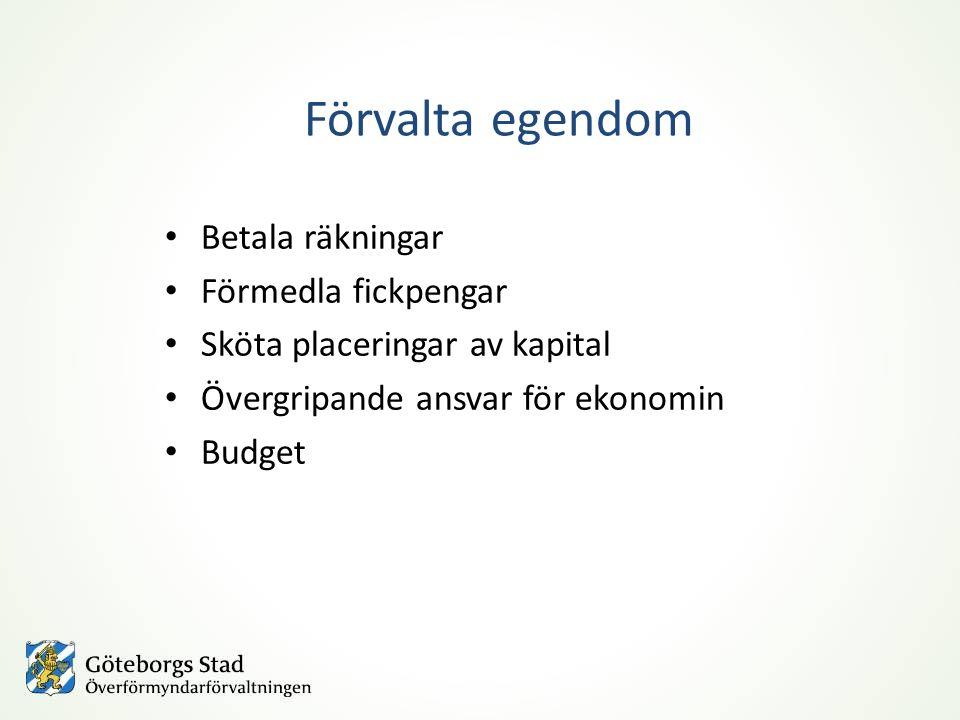 Förvalta egendom Betala räkningar Förmedla fickpengar Sköta placeringar av kapital Övergripande ansvar för ekonomin Budget