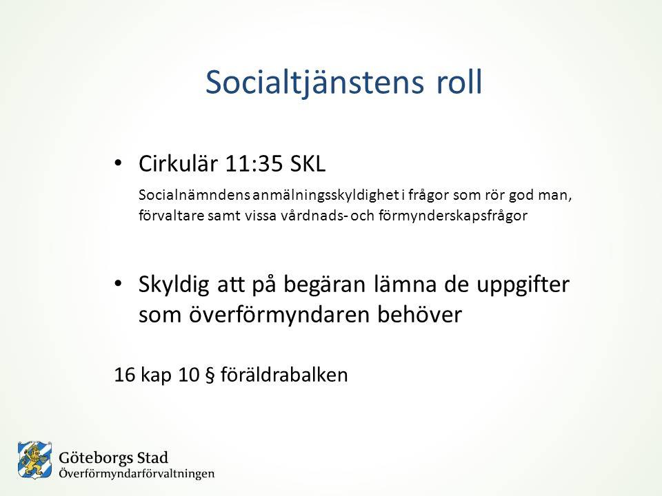 Socialtjänstens roll Cirkulär 11:35 SKL Socialnämndens anmälningsskyldighet i frågor som rör god man, förvaltare samt vissa vårdnads- och förmynderska