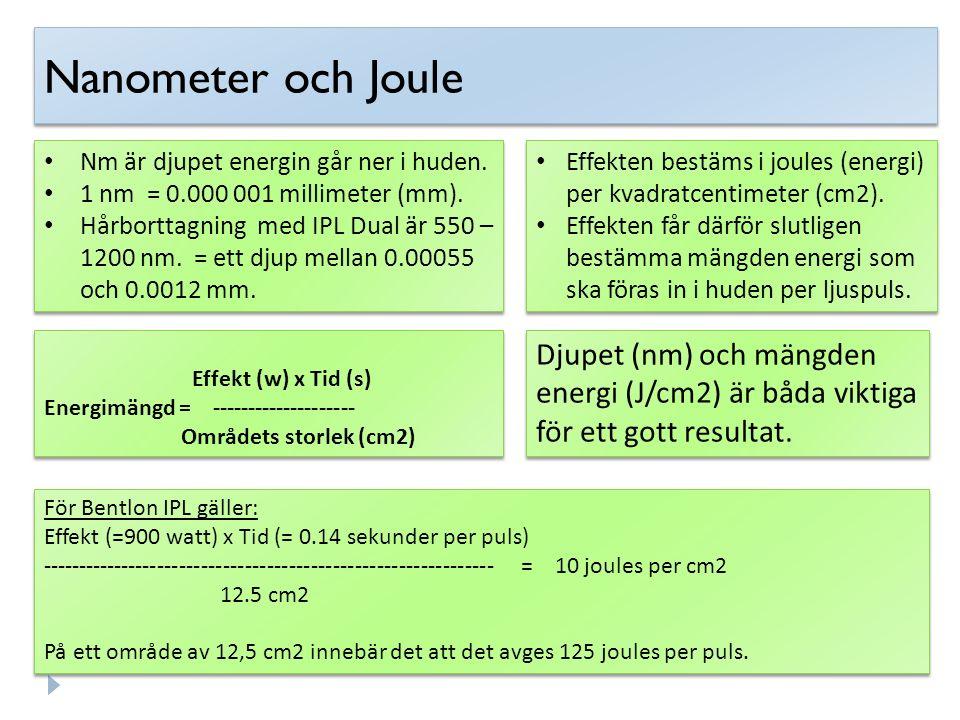 Nanometer och Joule Nm är djupet energin går ner i huden. 1 nm = 0.000 001 millimeter (mm). Hårborttagning med IPL Dual är 550 – 1200 nm. = ett djup m