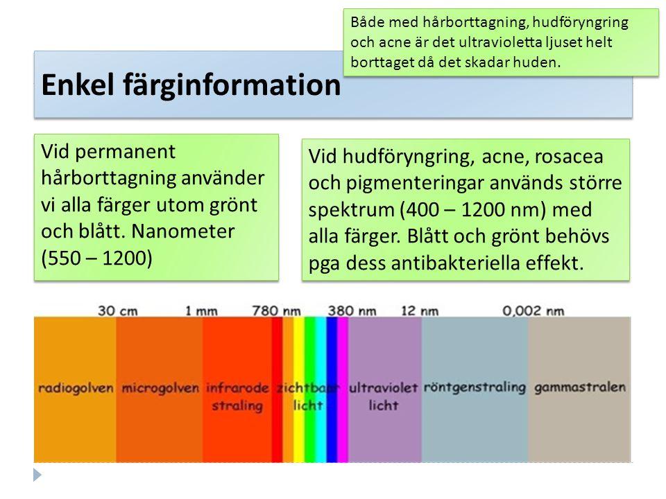 Enkel färginformation Vid permanent hårborttagning använder vi alla färger utom grönt och blått. Nanometer (550 – 1200) Både med hårborttagning, hudfö