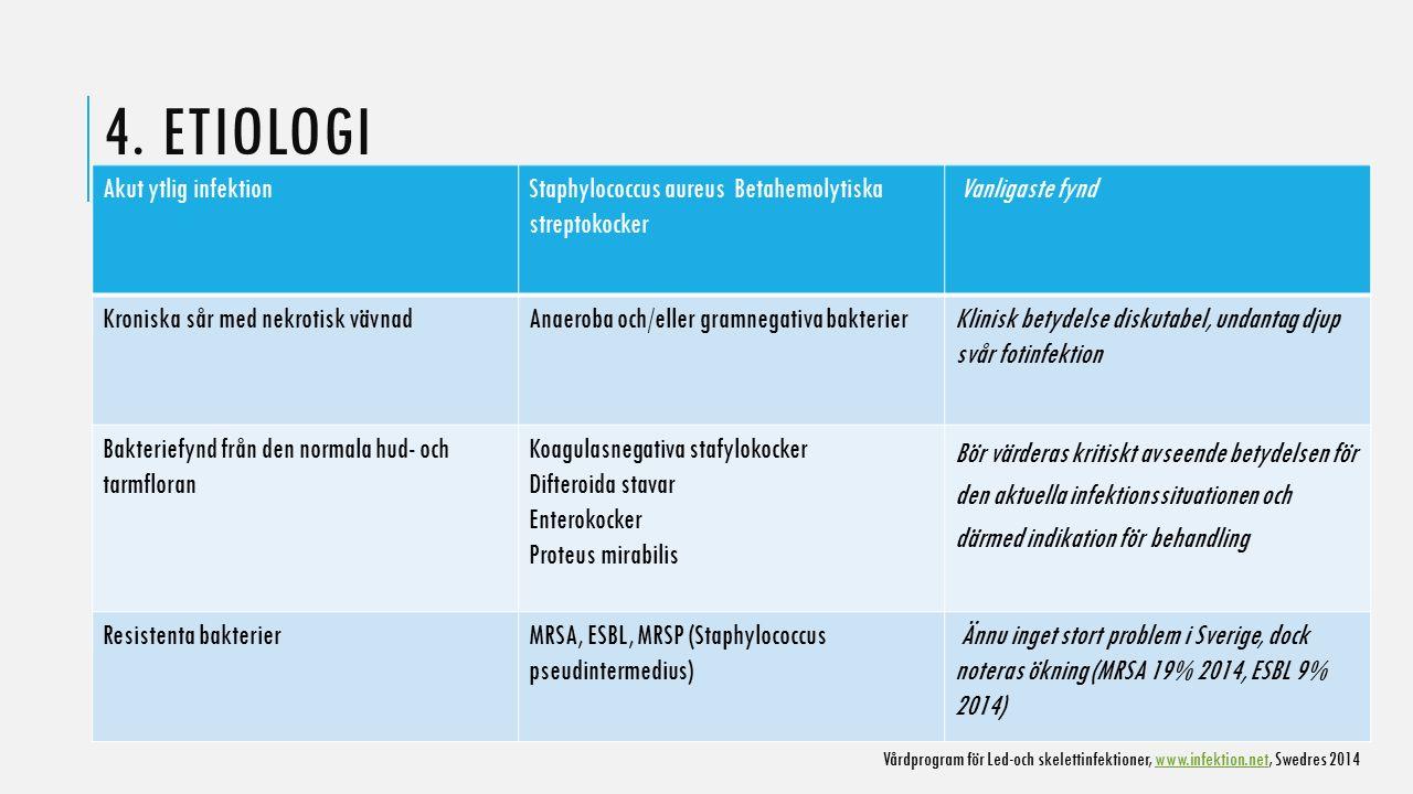 4. ETIOLOGI Akut ytlig infektionStaphylococcus aureus Betahemolytiska streptokocker Vanligaste fynd Kroniska sår med nekrotisk vävnadAnaeroba och/elle
