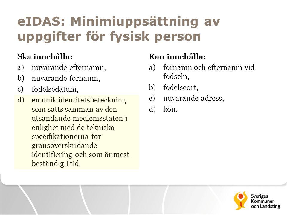 eIDAS: Minimiuppsättning av uppgifter för fysisk person Ska innehålla: a)nuvarande efternamn, b)nuvarande förnamn, c)födelsedatum, d)en unik identitet