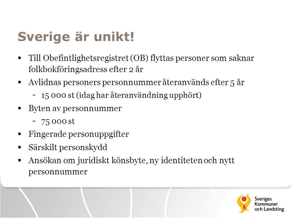 Sverige är unikt!  Till Obefintlighetsregistret (OB) flyttas personer som saknar folkbokföringsadress efter 2 år  Avlidnas personers personnummer åt