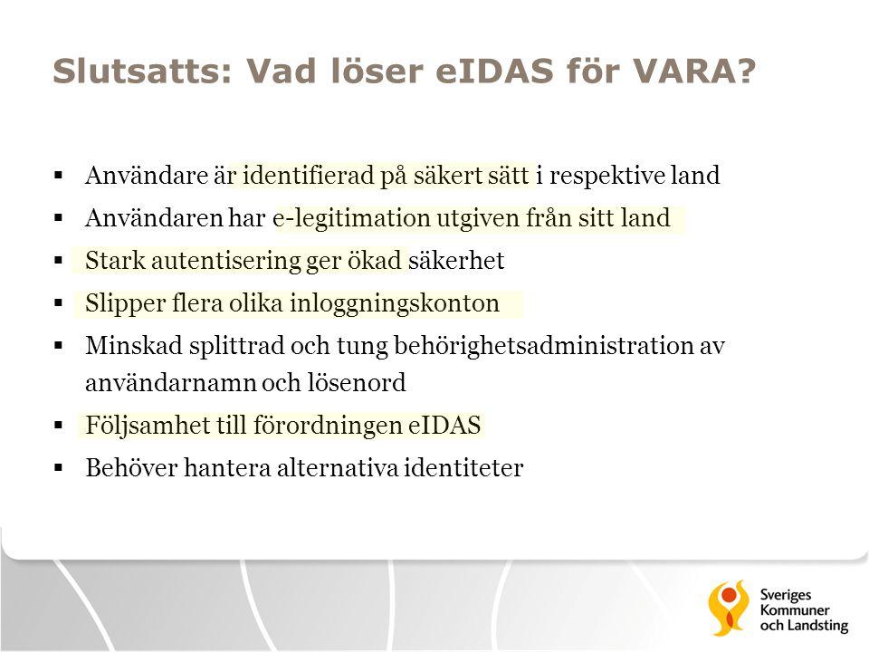Slutsatts: Vad löser eIDAS för VARA?  Användare är identifierad på säkert sätt i respektive land  Användaren har e-legitimation utgiven från sitt la