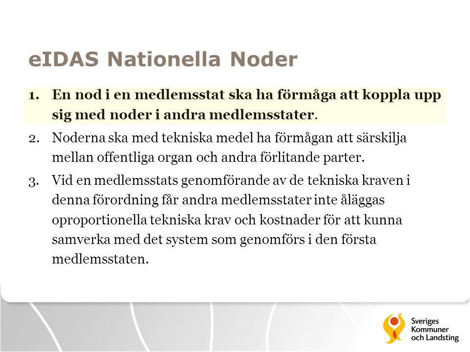 eIDAS Nationella Noder 1.En nod i en medlemsstat ska ha förmåga att koppla upp sig med noder i andra medlemsstater. 2.Noderna ska med tekniska medel h