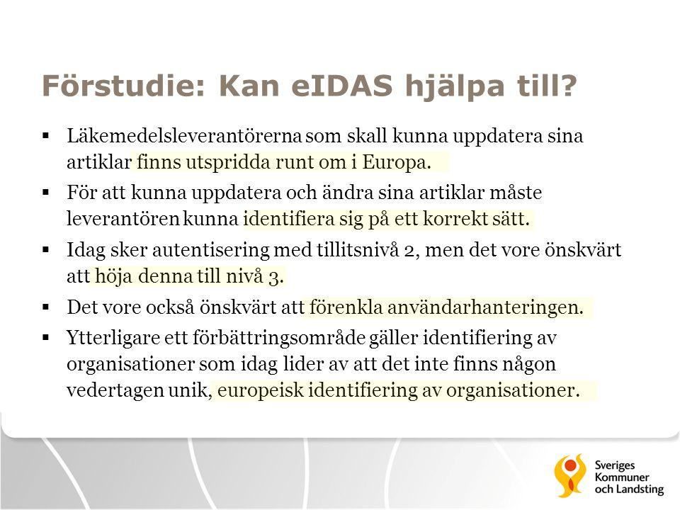 Förstudie: Kan eIDAS hjälpa till?  Läkemedelsleverantörerna som skall kunna uppdatera sina artiklar finns utspridda runt om i Europa.  För att kunna