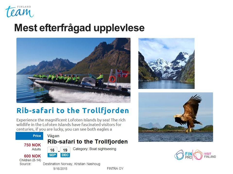 Mest efterfrågad upplevlese 9/16/2015 Source: Destination Norway, Kristian Nashoug FINTRA OY