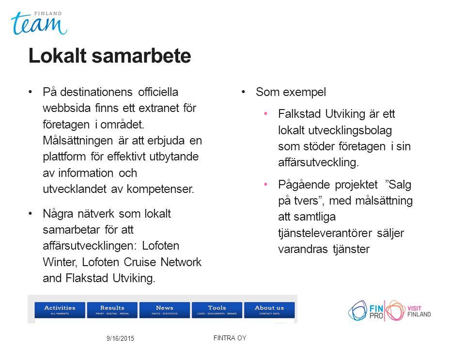 På destinationens officiella webbsida finns ett extranet för företagen i området.