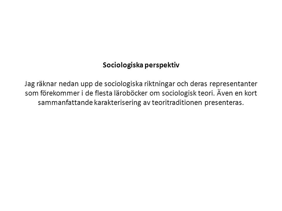 Sociologiska perspektiv Jag räknar nedan upp de sociologiska riktningar och deras representanter som förekommer i de flesta läroböcker om sociologisk teori.