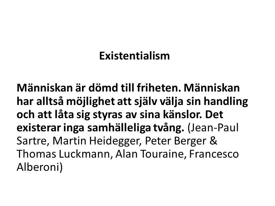 Existentialism Människan är dömd till friheten.