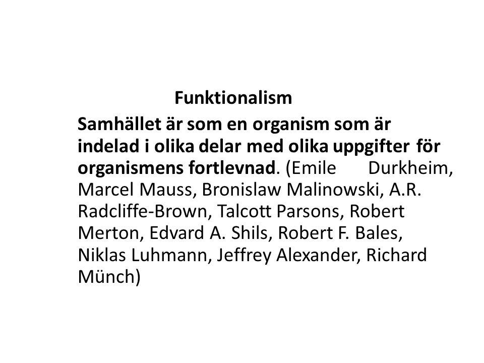 Funktionalism Samhället är som en organism som är indelad i olika delar med olika uppgifter för organismens fortlevnad.