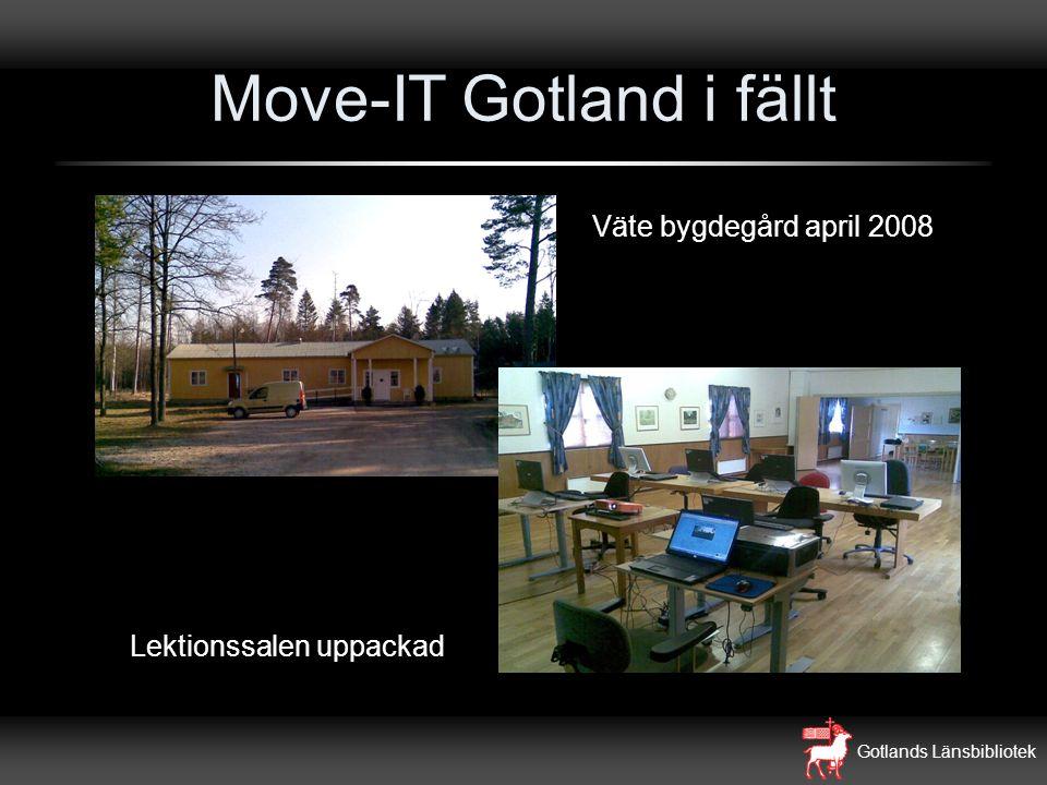 Gotlands Länsbibliotek Move-IT Gotland i fällt Väte bygdegård april 2008 Lektionssalen uppackad