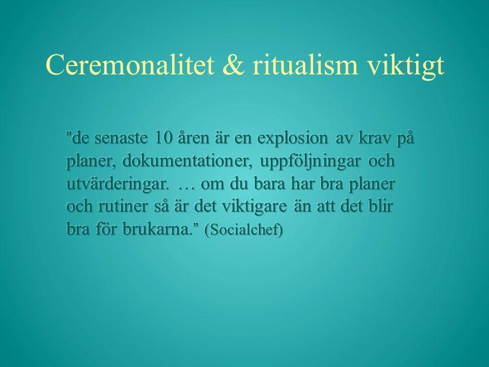 Ceremonalitet & ritualism viktigt