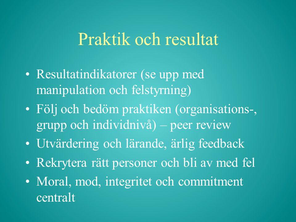 Praktik och resultat Resultatindikatorer (se upp med manipulation och felstyrning) Följ och bedöm praktiken (organisations-, grupp och individnivå) –