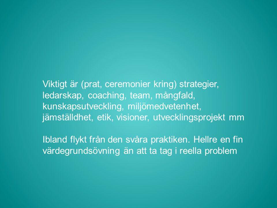 Viktigt är (prat, ceremonier kring) strategier, ledarskap, coaching, team, mångfald, kunskapsutveckling, miljömedvetenhet, jämställdhet, etik, visioner, utvecklingsprojekt mm Ibland flykt från den svåra praktiken.