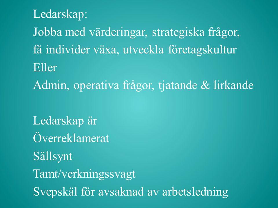 Ledarskap: Jobba med värderingar, strategiska frågor, få individer växa, utveckla företagskultur Eller Admin, operativa frågor, tjatande & lirkande Ledarskap är Överreklamerat Sällsynt Tamt/verkningssvagt Svepskäl för avsaknad av arbetsledning
