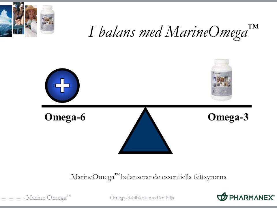 Marine Omega ™ Omega-3-tillskott med krillolja I balans med MarineOmega ™ Omega-6Omega-3 MarineOmega ™ balanserar de essentiella fettsyrorna