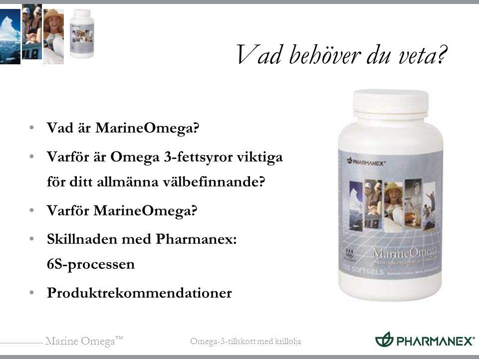 Marine Omega ™ Omega-3-tillskott med krillolja Vad behöver du veta? Vad är MarineOmega? Varför är Omega 3-fettsyror viktiga för ditt allmänna välbefin