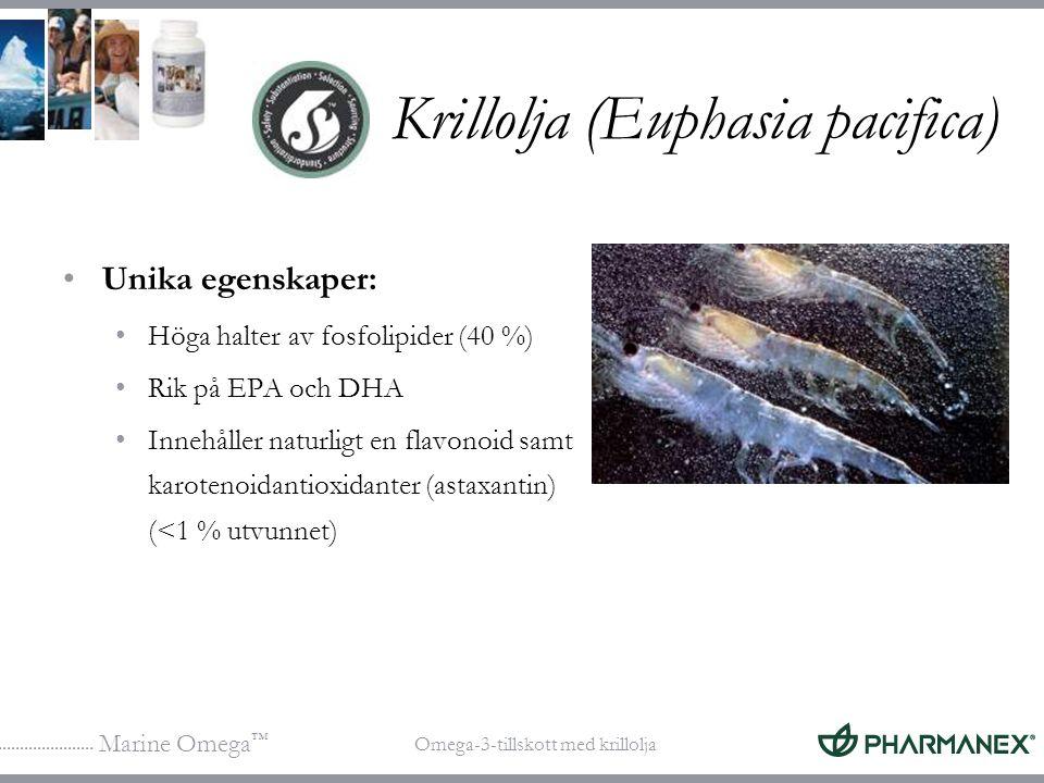 Marine Omega ™ Omega-3-tillskott med krillolja Krillolja (Euphasia pacifica) Unika egenskaper: Höga halter av fosfolipider (40 %) Rik på EPA och DHA I