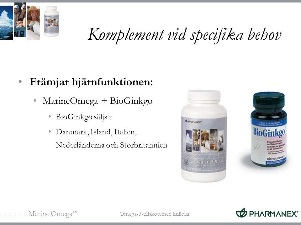 Marine Omega ™ Omega-3-tillskott med krillolja Komplement vid specifika behov Främjar hjärnfunktionen: MarineOmega + BioGinkgo BioGinkgo säljs i: Danm