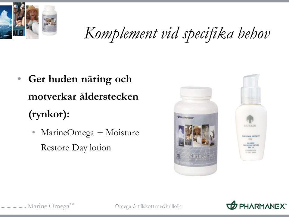 Marine Omega ™ Omega-3-tillskott med krillolja Komplement vid specifika behov Ger huden näring och motverkar ålderstecken (rynkor): MarineOmega + Mois