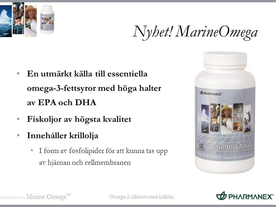Marine Omega ™ Omega-3-tillskott med krillolja Nyhet! MarineOmega En utmärkt källa till essentiella omega-3-fettsyror med höga halter av EPA och DHA F