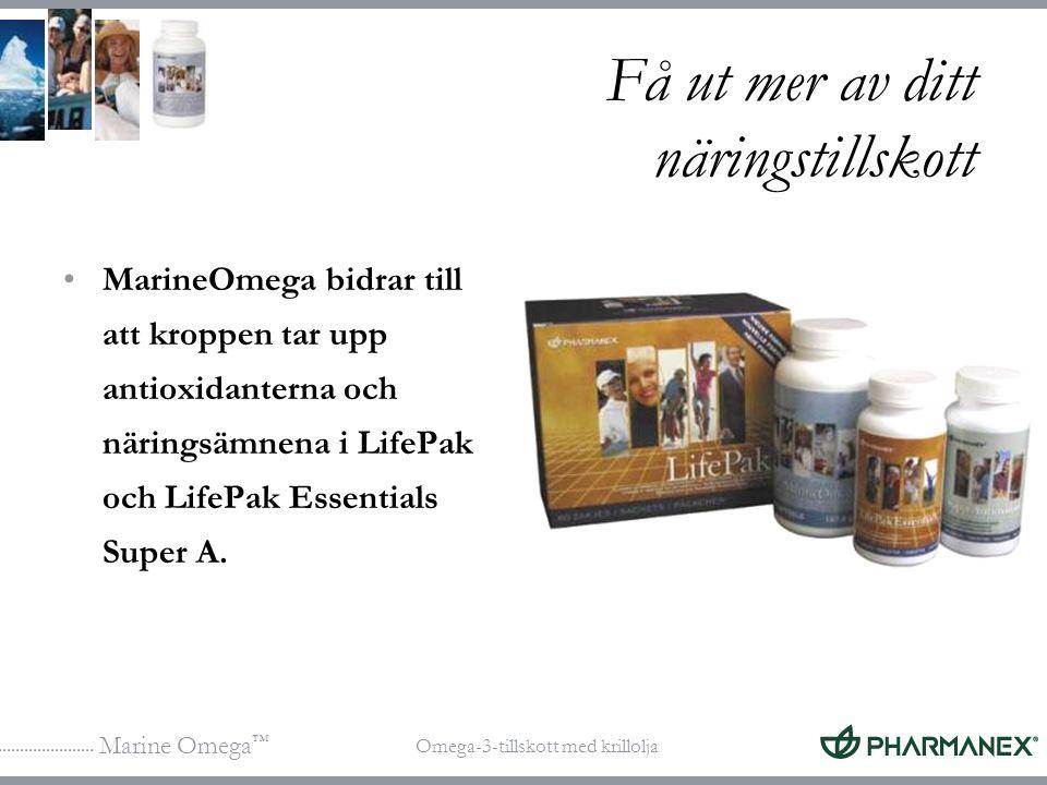 Marine Omega ™ Omega-3-tillskott med krillolja Få ut mer av ditt näringstillskott MarineOmega bidrar till att kroppen tar upp antioxidanterna och näri
