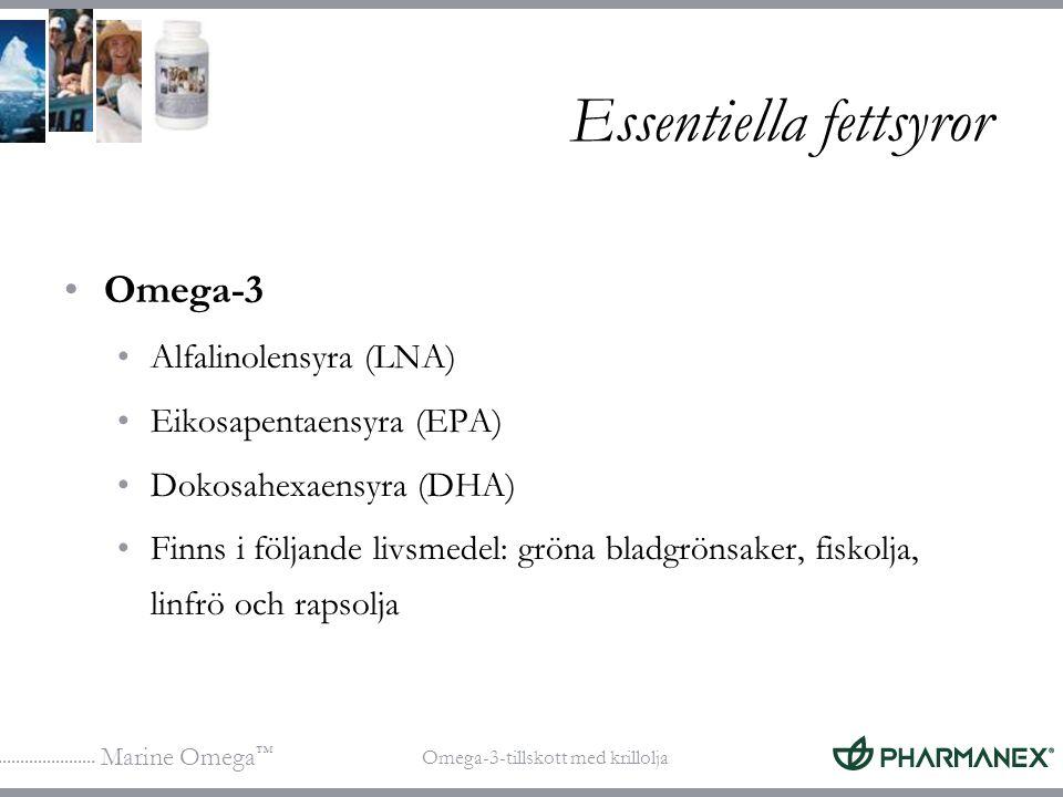 Marine Omega ™ Omega-3-tillskott med krillolja Essentiella fettsyror Omega-3 Alfalinolensyra (LNA) Eikosapentaensyra (EPA) Dokosahexaensyra (DHA) Finn