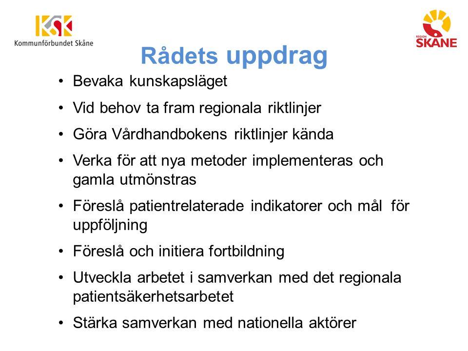 Rådets uppdrag Bevaka kunskapsläget Vid behov ta fram regionala riktlinjer Göra Vårdhandbokens riktlinjer kända Verka för att nya metoder implementera