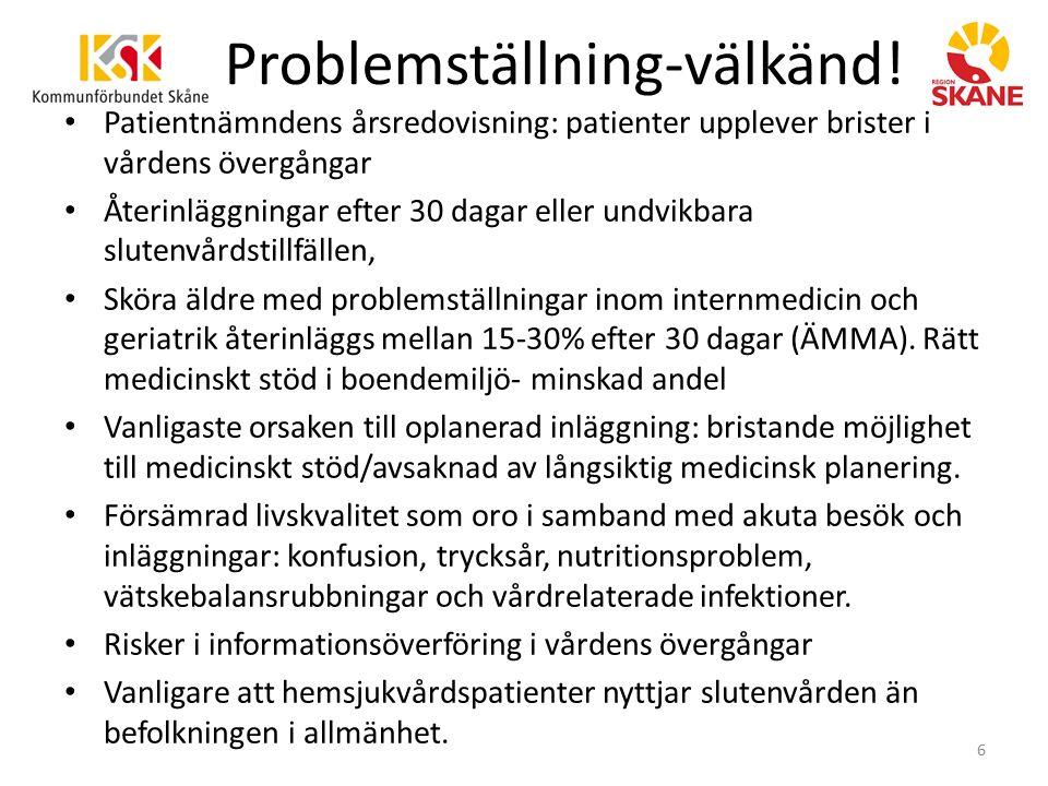 Problemställning-välkänd! Patientnämndens årsredovisning: patienter upplever brister i vårdens övergångar Återinläggningar efter 30 dagar eller undvik