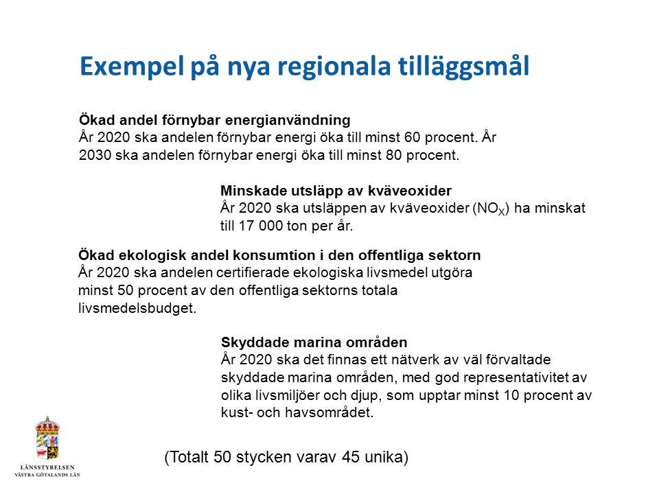 Exempel på nya regionala tilläggsmål Ökad andel förnybar energianvändning År 2020 ska andelen förnybar energi öka till minst 60 procent. År 2030 ska a