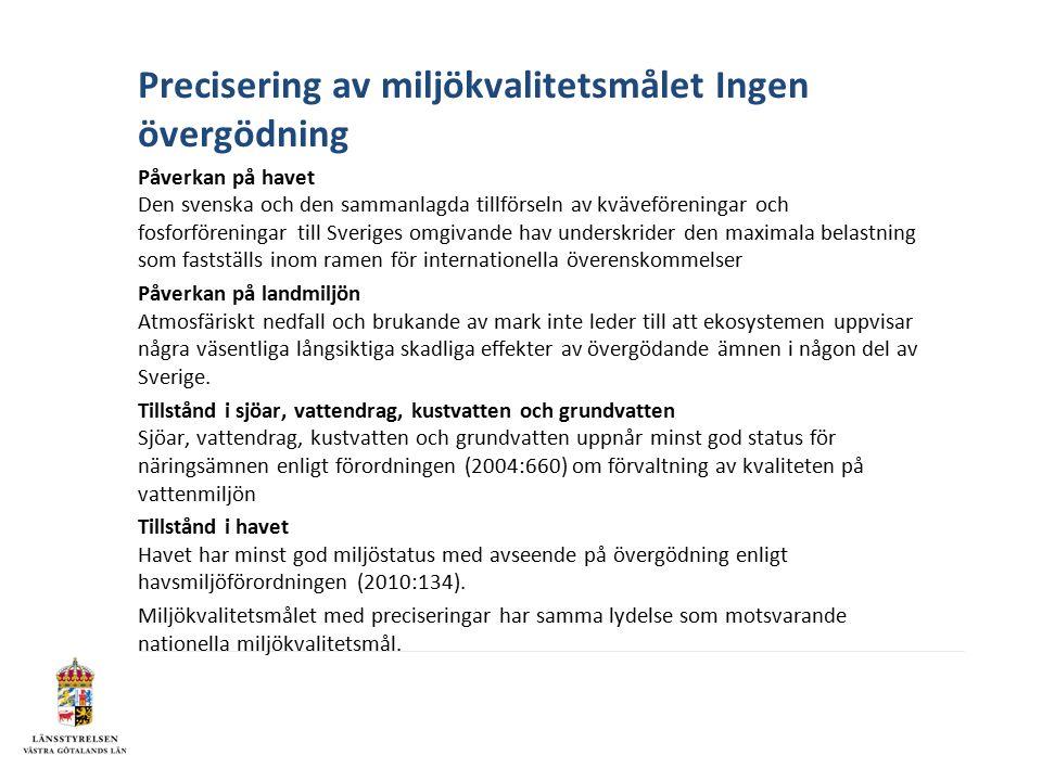 Precisering av miljökvalitetsmålet Ingen övergödning Påverkan på havet Den svenska och den sammanlagda tillförseln av kväveföreningar och fosforföreningar till Sveriges omgivande hav underskrider den maximala belastning som fastställs inom ramen för internationella överenskommelser Påverkan på landmiljön Atmosfäriskt nedfall och brukande av mark inte leder till att ekosystemen uppvisar några väsentliga långsiktiga skadliga effekter av övergödande ämnen i någon del av Sverige.