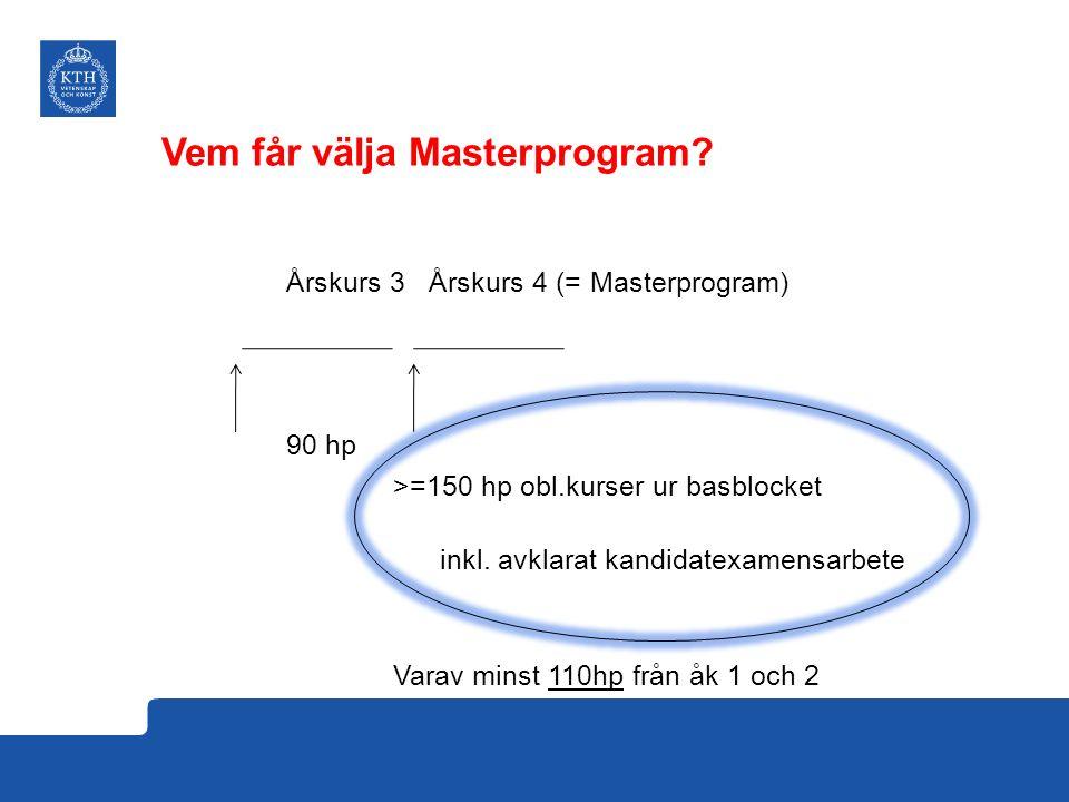 Årskurs 3 Årskurs 4 (= Masterprogram) 90 hp >=150 hp obl.kurser ur basblocket inkl. avklarat kandidatexamensarbete Varav minst 110hp från åk 1 och 2 V