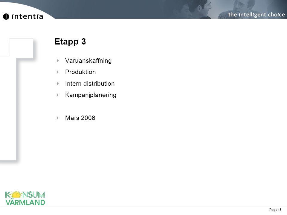 Page 18 Etapp 3  Varuanskaffning  Produktion  Intern distribution  Kampanjplanering  Mars 2006