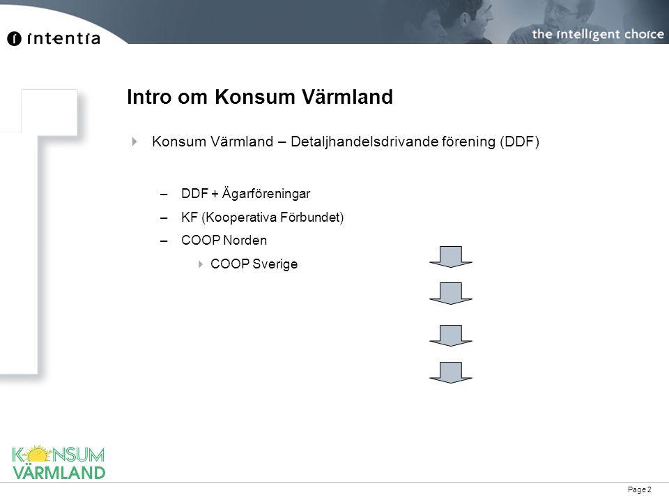 Page 3 Intro om Konsum Värmland  Siffror –Omsätter ca 3 miljarder SEK –1700 anställda –125000 medlemmar –Marknadsandel 48-52 % –Huvudkontor i Karlstad –Marknadsområde Värmland
