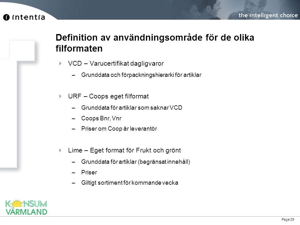 Page 29 Definition av användningsområde för de olika filformaten  VCD – Varucertifikat dagligvaror –Grunddata och förpackningshierarki för artiklar 