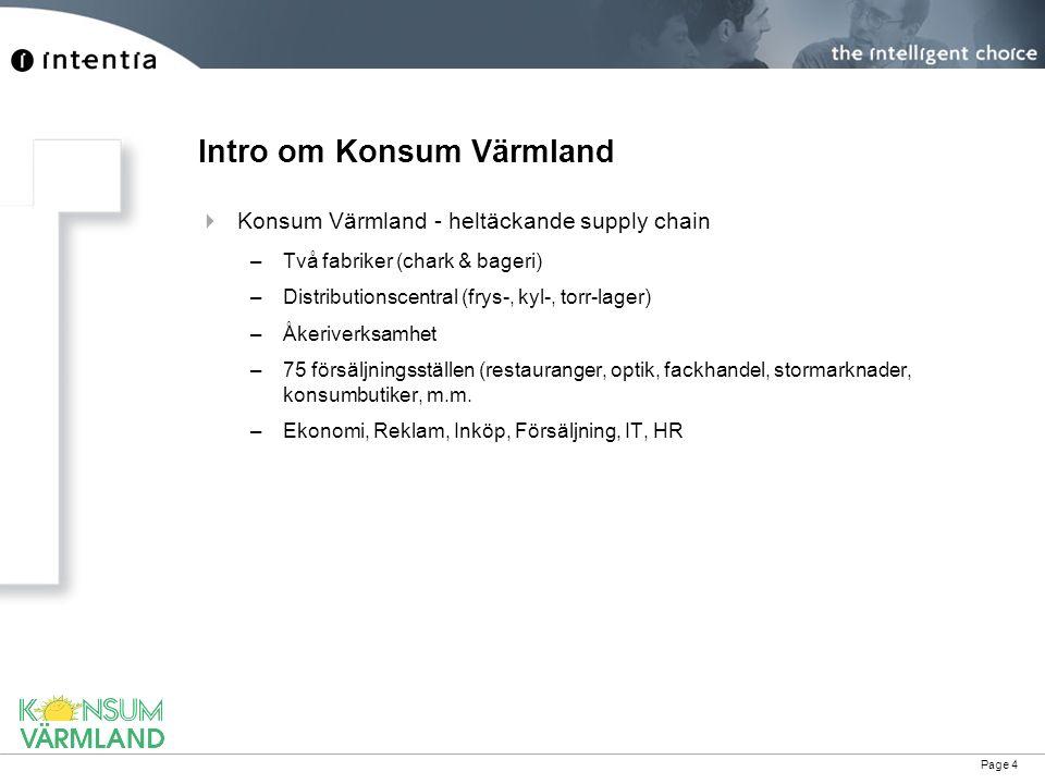 Page 4 Intro om Konsum Värmland  Konsum Värmland - heltäckande supply chain –Två fabriker (chark & bageri) –Distributionscentral (frys-, kyl-, torr-l