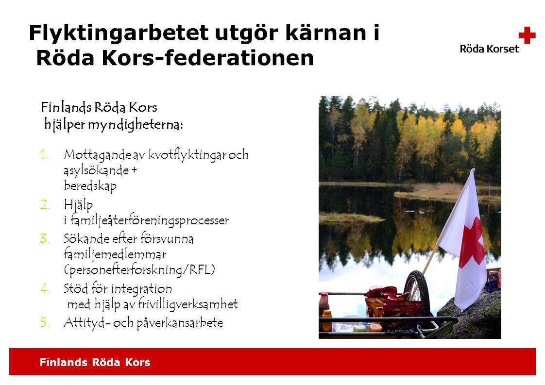 Finlands Röda Kors Flyktingarbetet utgör kärnan i Röda Kors-federationen Finlands Röda Kors hjälper myndigheterna: 1.Mottagande av kvotflyktingar och asylsökande + beredskap 2.Hjälp i familjeåterföreningsprocesser 3.Sökande efter försvunna familjemedlemmar (personefterforskning/RFL) 4.Stöd för integration med hjälp av frivilligverksamhet 5.Attityd- och påverkansarbete