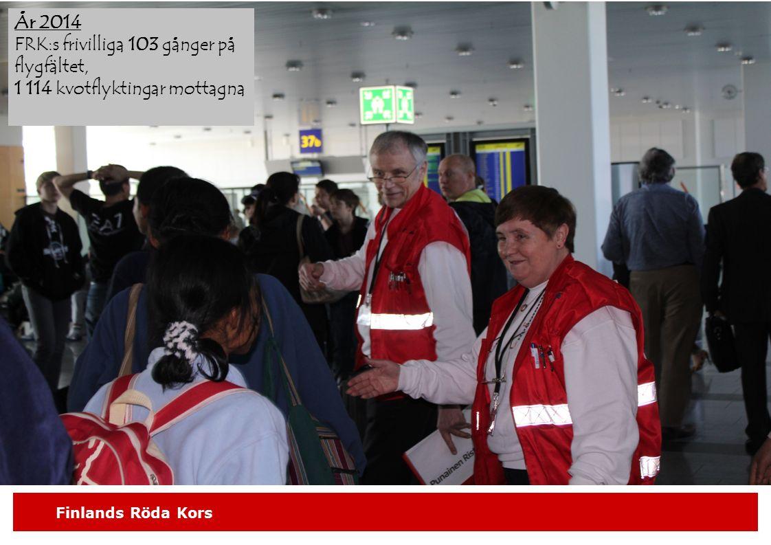 Finlands Röda Kors År 2014 FRK:s frivilliga 103 gånger på flygfältet, 1 114 kvotflyktingar mottagna