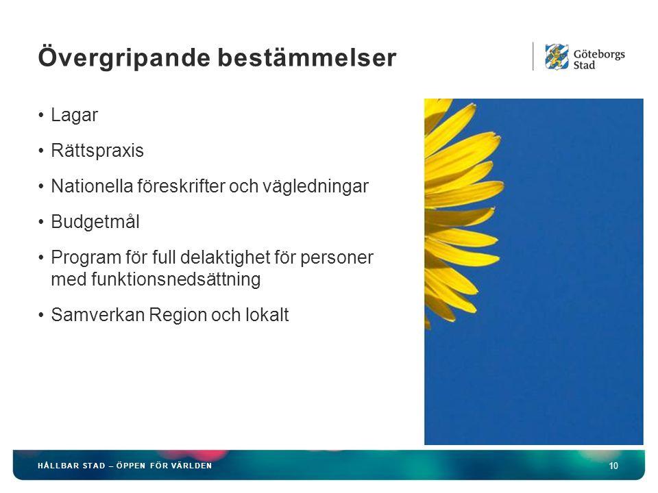 HÅLLBAR STAD – ÖPPEN FÖR VÄRLDEN 10 Lagar Rättspraxis Nationella föreskrifter och vägledningar Budgetmål Program för full delaktighet för personer med funktionsnedsättning Samverkan Region och lokalt Övergripande bestämmelser